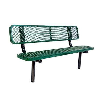 In-Ground 8 ft. Green Diamond Commercial Park Bench with Back