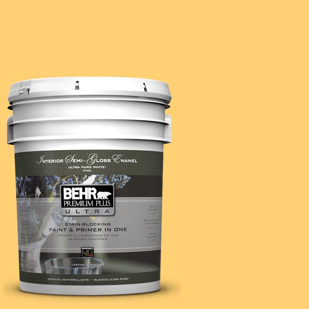 5-gal. #320B-6 Mellow Yellow Semi-Gloss Enamel Interior Paint