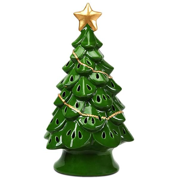 Costway 11 5 In Pre Lit Ceramic Christmas Tree Tabletop Lights In Green Cm22114 The Home Depot