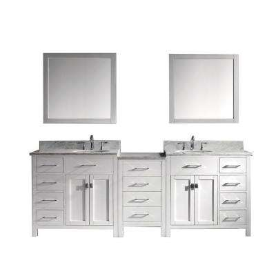 Caroline Parkway 92 in. W Bath Vanity in White with Marble Vanity Top in White with Round Basin and Mirror