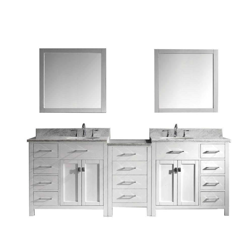 Virtu USA Caroline Parkway 93 in. W x 36 in. H Vanity with Marble Vanity Top in Carrara White with White Basin and Mirror