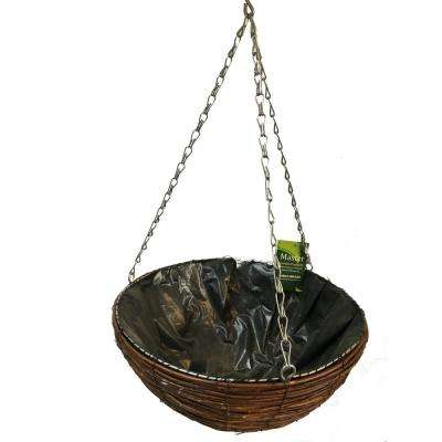 Brown Willow 9 in. H x 14 in. W Hanging Basket Planter