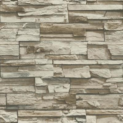 28.18 sq. ft. Gray and Brown Flat Stone Peel and Stick Wallpaper