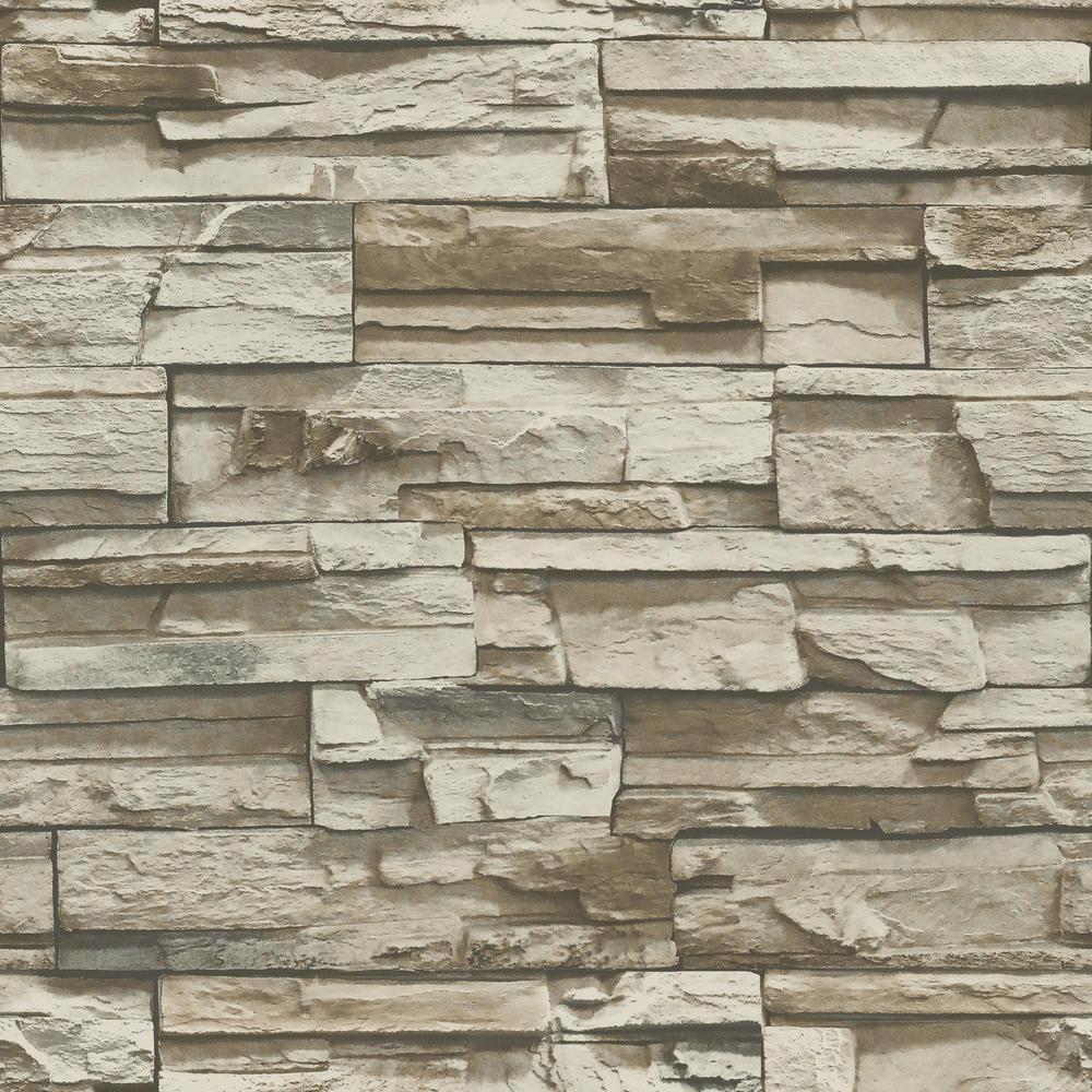 "stone wallpaper vinyl laminated grey peel sticky 10ft x 42/"" stacked brick"
