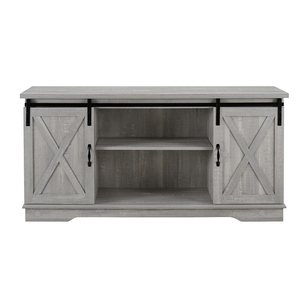 58 in. Stone Gray Composite TV Stand 64 in. with Doors