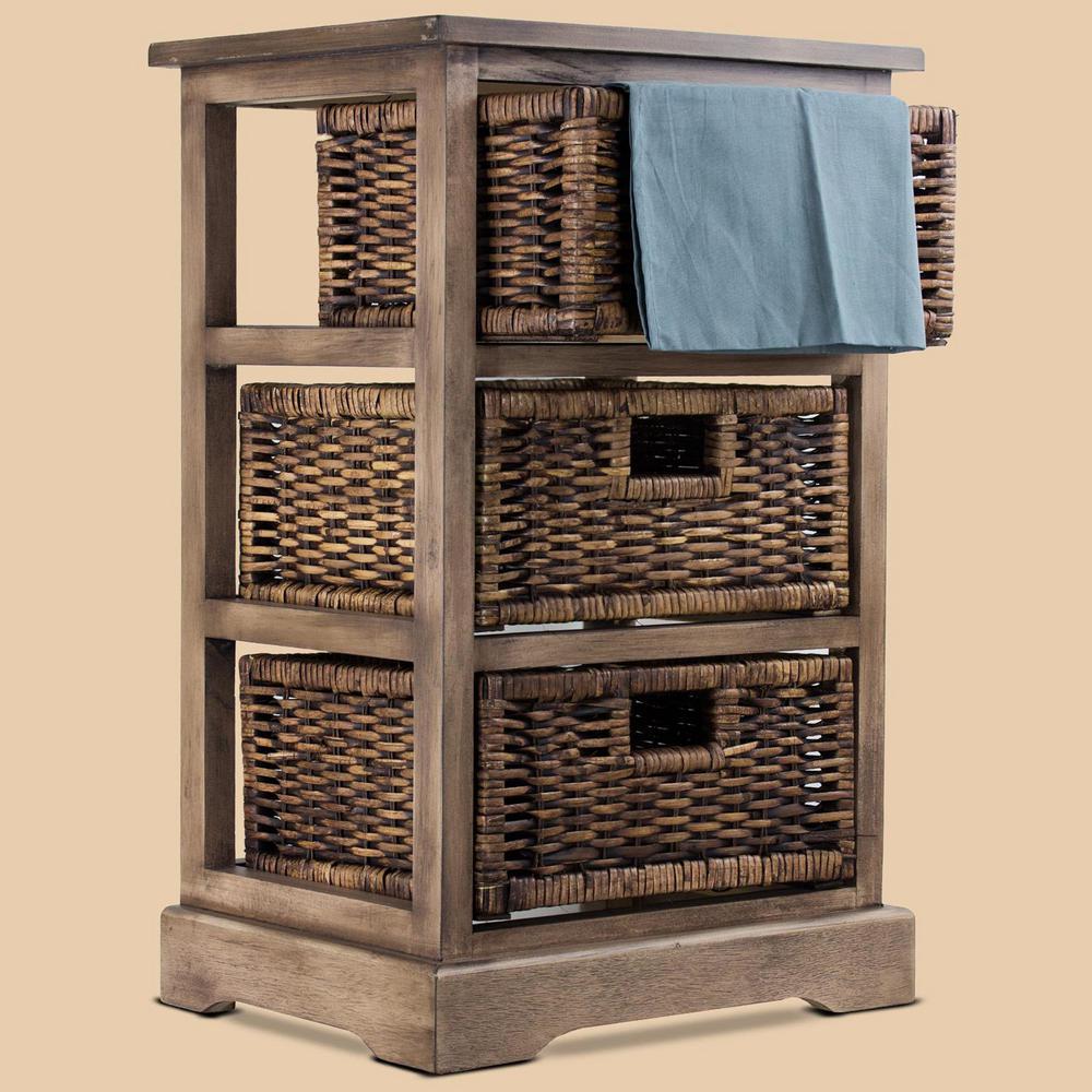 3-Drawer Wicker Basket Nightstand