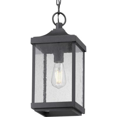 Park Court 1-Light Textured Black Outdoor Pendant Light with Clear Seeded Glass
