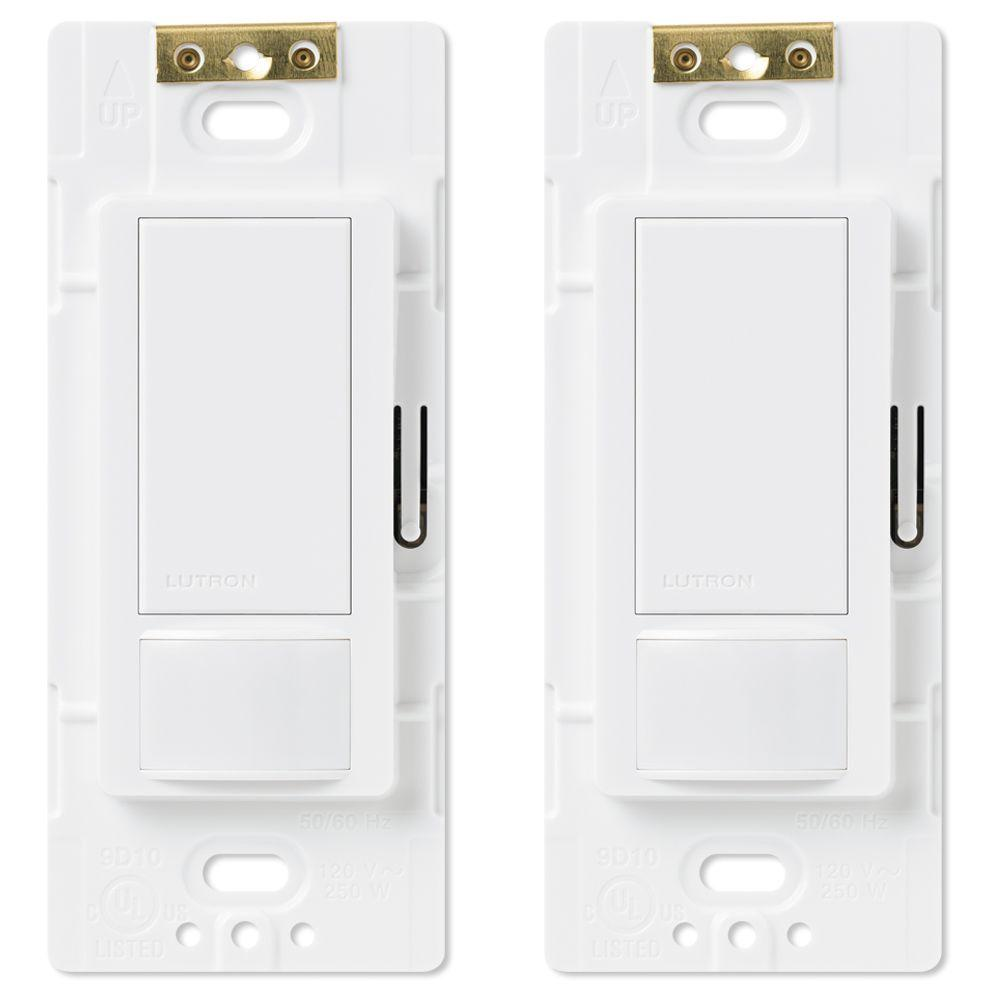 Lutron Maestro Single Pole Occupancy Motion Sensing Switch, White (2-Pack)