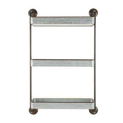 39 in. H x 25 in. W x 10 in. D Home Decorators Collection Black and Galvanized Metal Wall-Mount Bookshelf