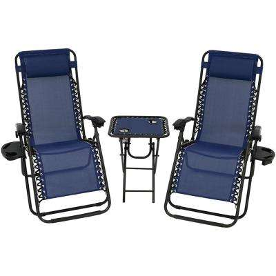 Zero Gravity Navy Blue Sling Beach Chairs with Side Table (Set of 2)