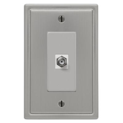 Moderne 1 Gang Coax Steel Wall Plate - Brushed Nickel