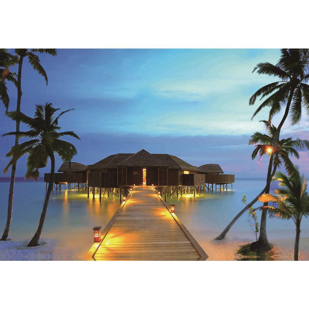 Led Lighted Tropical Paradise Island Beach Scene Canvas Wall Art 15 75 X 23 5