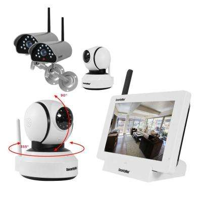 iSecurity 4-CH Digital Wireless 2 Outdoor/Indoor Cameras and 2 Indoor Pan/Tilt Cameras System Kit with Remote Viewing