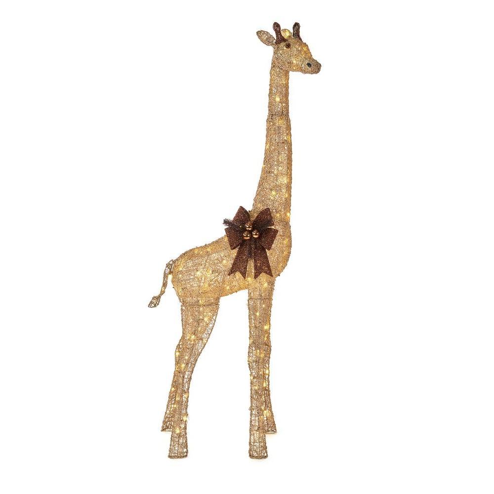 73 in. LED Lighted Gold Grapevine Giraffe