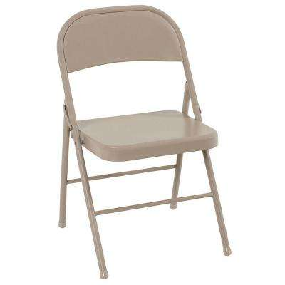 Antique Linen All Steel Folding Chairs (4-Pack)
