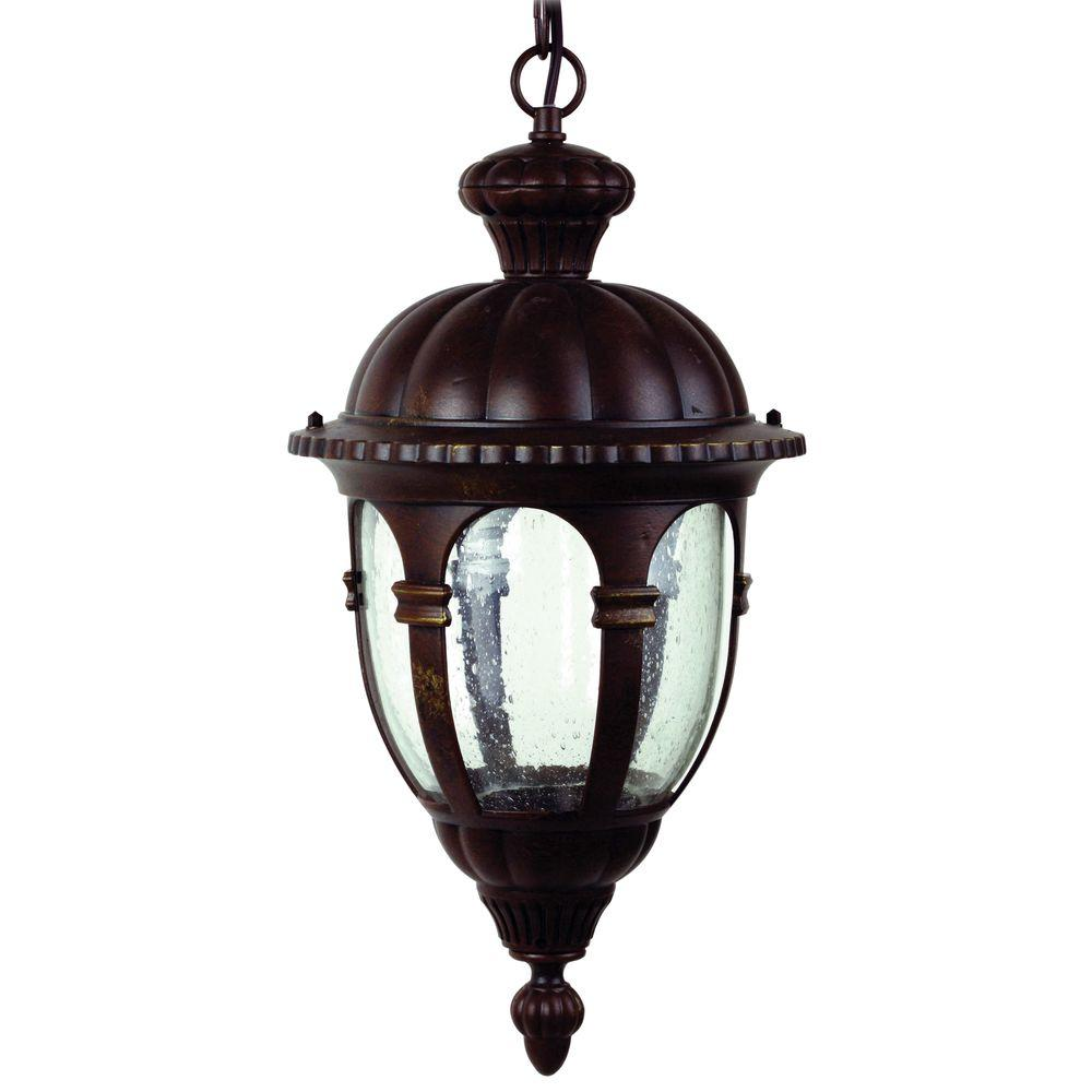 Yosemite Home Decor Merili 9 in. Incandescent Hanging Exterior Light, Brown Frame with Seedy Glass
