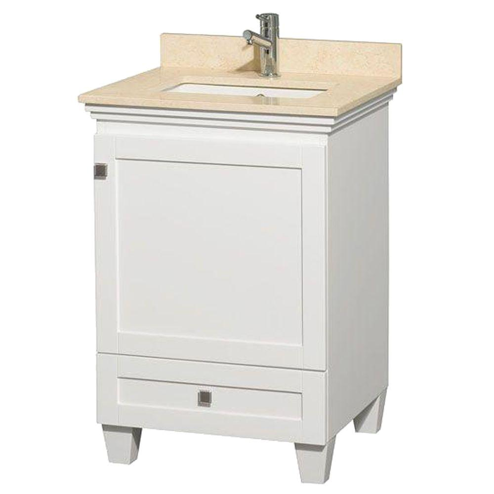Acclaim 24 in. Vanity in White with Marble Vanity Top in
