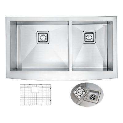 Elysian Farmhouse Apron Front Stainless Steel 33 in. 0-Hole 60/40 Double Bowl Kitchen Sink in Brushed Satin