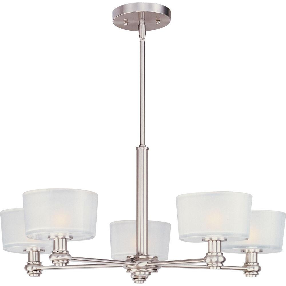 Oriax 5-Light Satin Nickel Single-Tier Chandelier with Frosted Glass Shade-DISCONTINUED