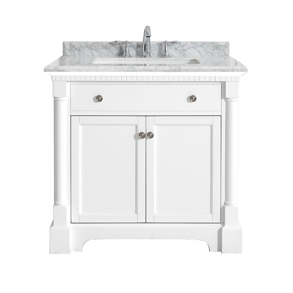 OVE Decors Claudia 36 in. W x 22 in. D Vanity in Pure White with Marble Vanity Top in Carrara with White Basin