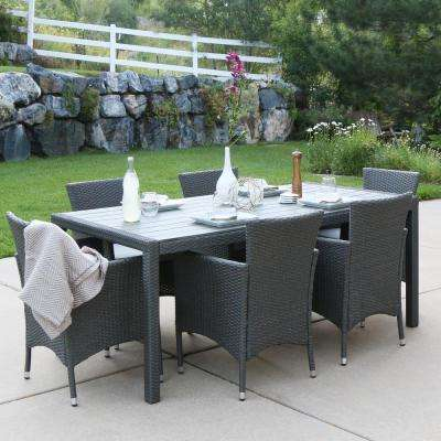 Grey Rattan 7-Piece Outdoor Dining Set with Grey Cushions
