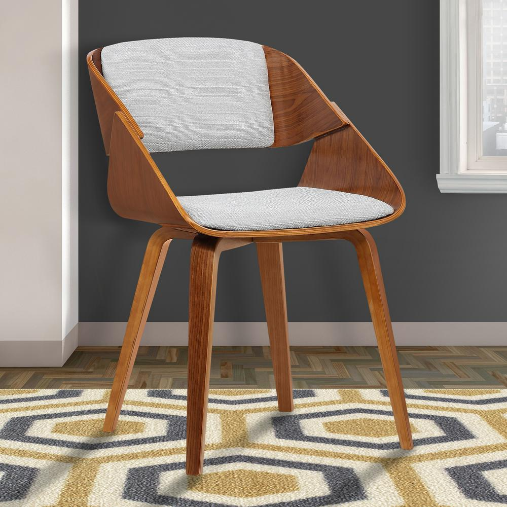 Gray fabric and walnut wood finish dining chair