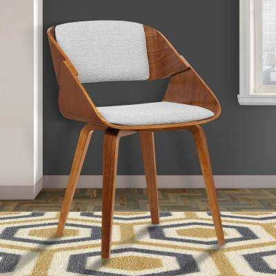 Ivy 30 in. Gray Fabric and Walnut Wood Finish Dining Chair