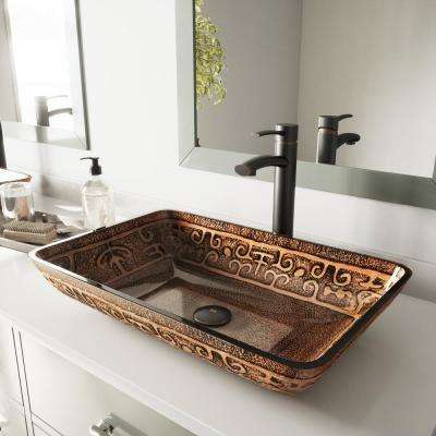 Vessel Sink in Golden Greek and Milo Faucet Set in Antique Rubbed Bronze