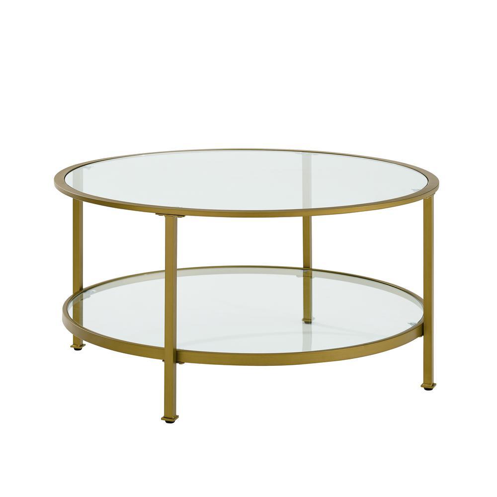 Walker Edison Furniture Company 36 In Gl Gold Coffee