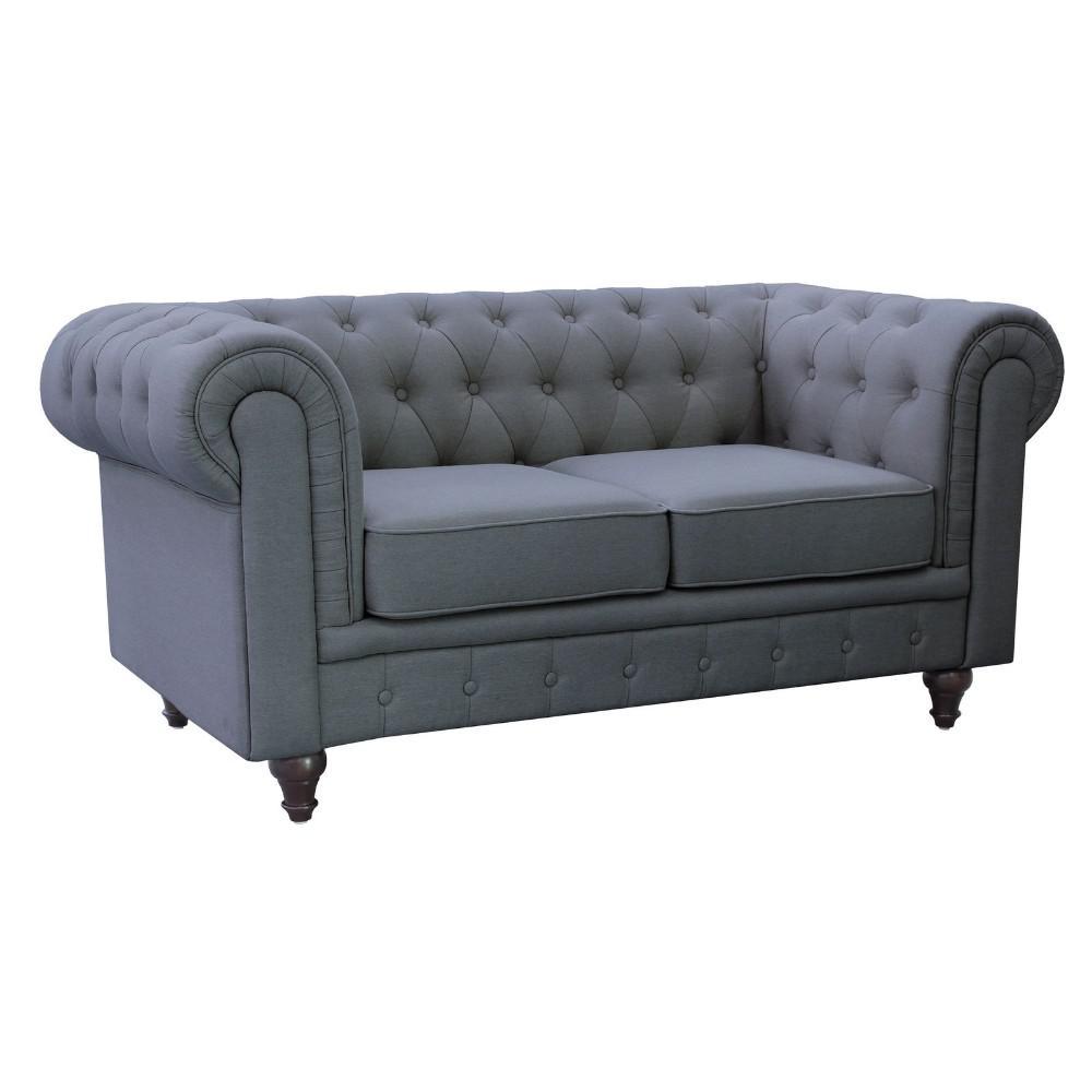 Grace Chesterfield Linen Fabric Upholstered Button-Tufted Loveseat ...