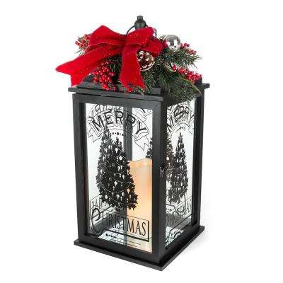 23 in. H Black Wooden Lantern with Resin LED Timer Candle