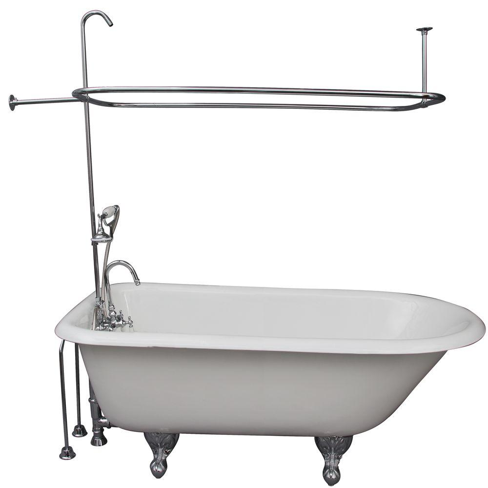 Cast iron ball and claw feet roll top tub in white