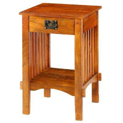 Brown Spacious Mango Wood Telephone Stand with Slatted Side Panels