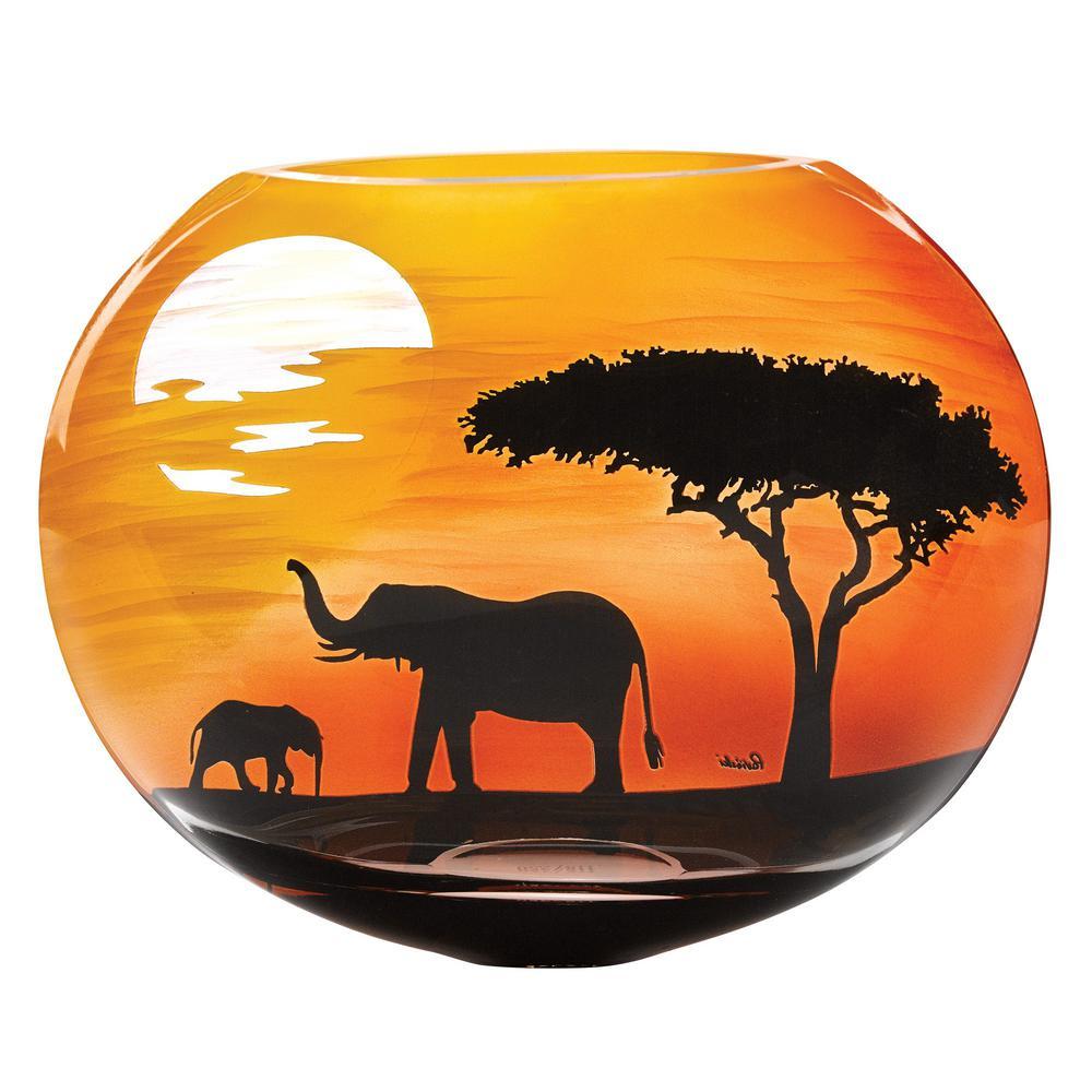 Elephant Savannah 9 in. European Mouth Blown Decorative Vase