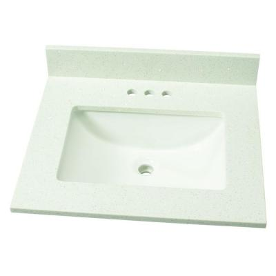 25 in. W Engineered Stone Single Sink Vanity Top in Sparkling White with White Sink