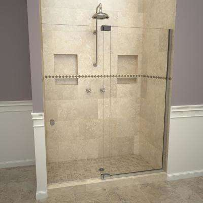 2900V Series 42 in. W x 76 in. H Semi-Frameless Offset Pivot Hinge Shower Door in Polished Chrome with Knobs