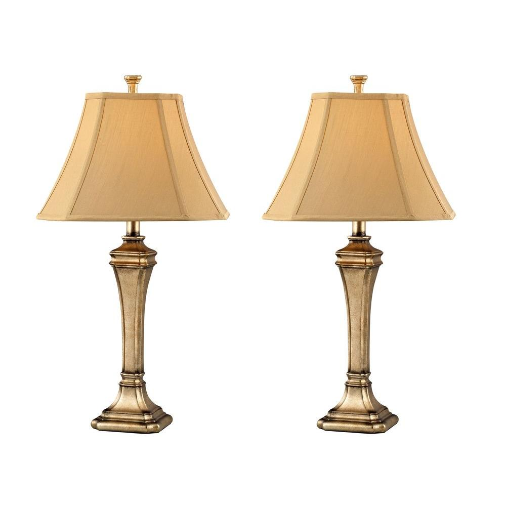 Design 2-Piece 28.5 in. Boston Antique Table Lamp Set with Beige Silk Shades - DISCONTINUED
