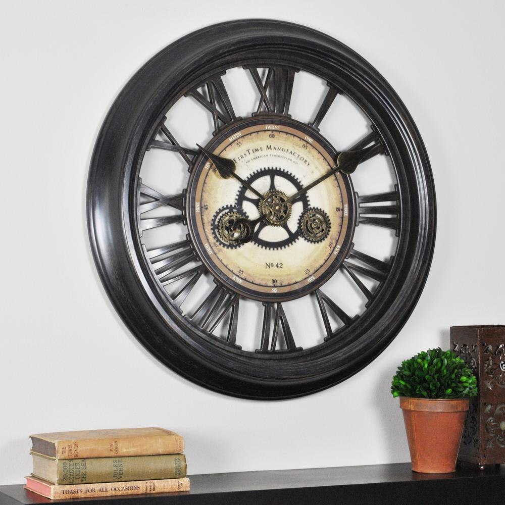 Firstime 24 In Round Gear Works Wall Clock 10032 The Home Depot
