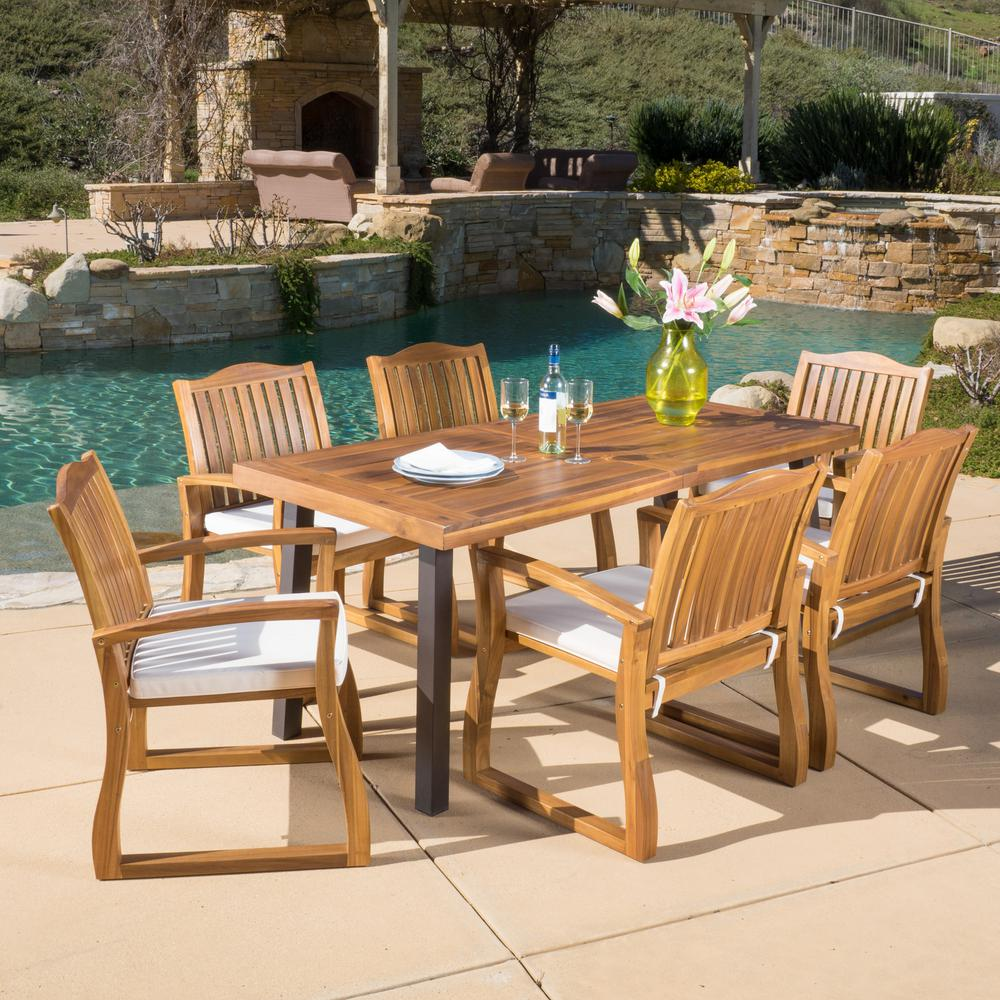 Noble House Della Teak Finish 7-Piece Wood Outdoor Dining Set