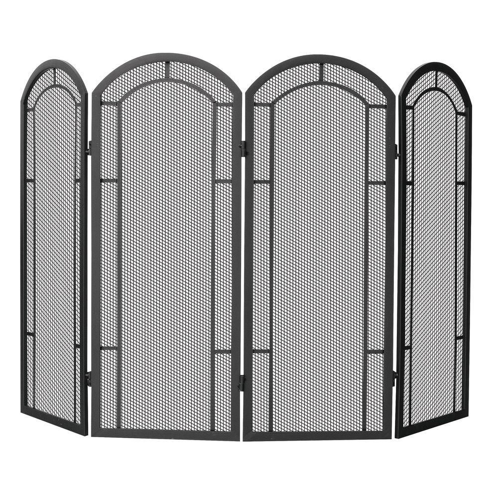 UniFlame Black Wrought Iron 48 in. W 4-Panel Fireplace Screen with Heavy Guage Mesh -  S-1130