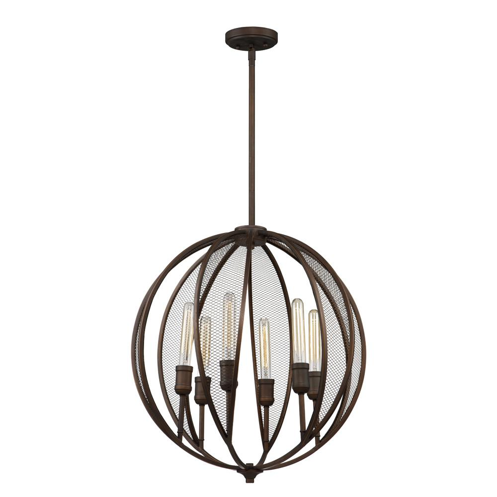 ARTCRAFT Linden 6-Light Bronze Chandelier The  Linden  collection features a rich oil rubbed bronze frame complimented with tubular arms, and adorned with metal mesh. Comes with a hang straight for sloped ceilings and extra rods for height adjustment.