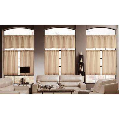 Keighley Wheat Linen and Poly Pole Top Kitchen Curtain - 58 in. W x 15 in. L in (3-Piece)