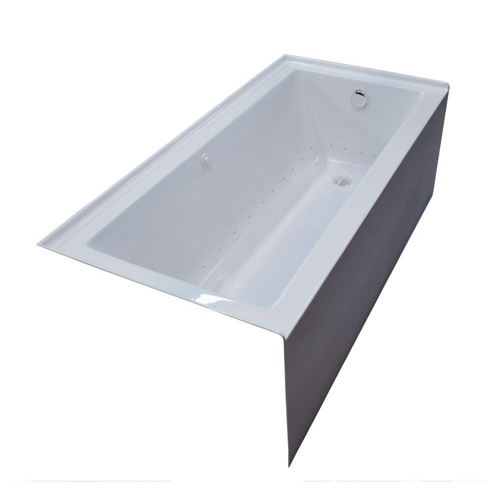 Universal Tubs Amber 5 ft. Acrylic Rectangular Drop-in Air Bathtub in White