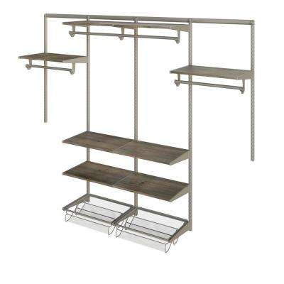 Closet Culture 16 in. D x 96 in. W x 78 in. H Steel Closet System with 8 Driftwood Wood Shelves