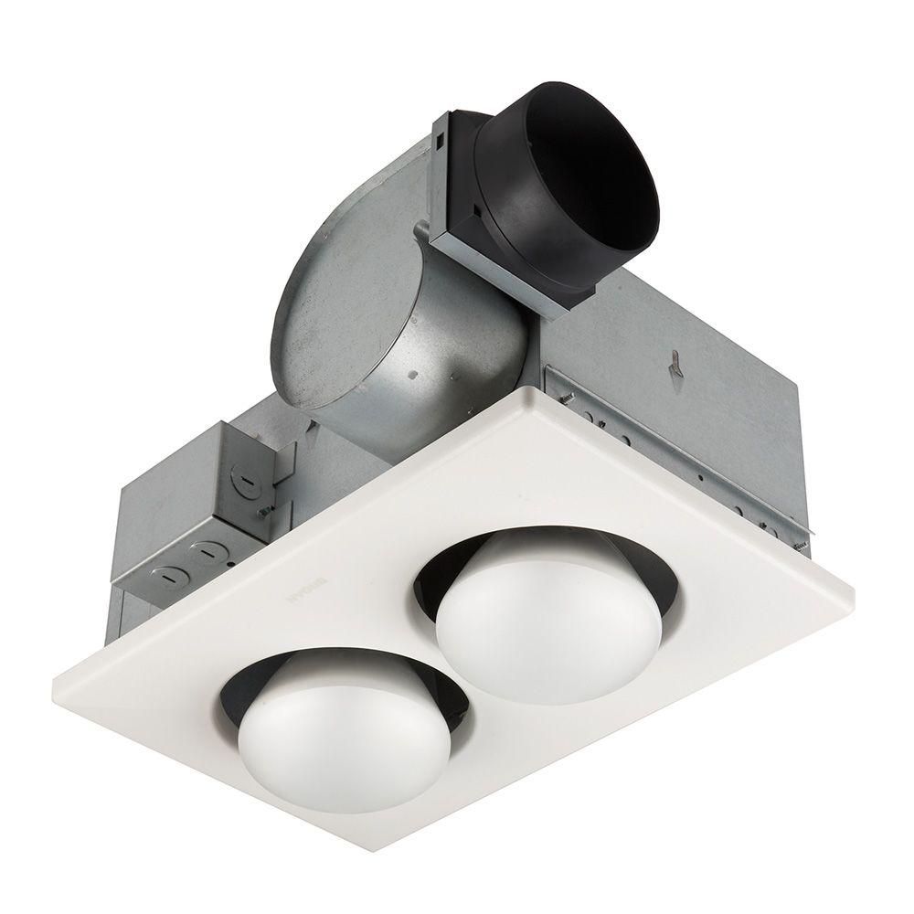 70 CFM Ceiling Bathroom Exhaust Fan with 500-Watt 2-Bulb Infrared Heater