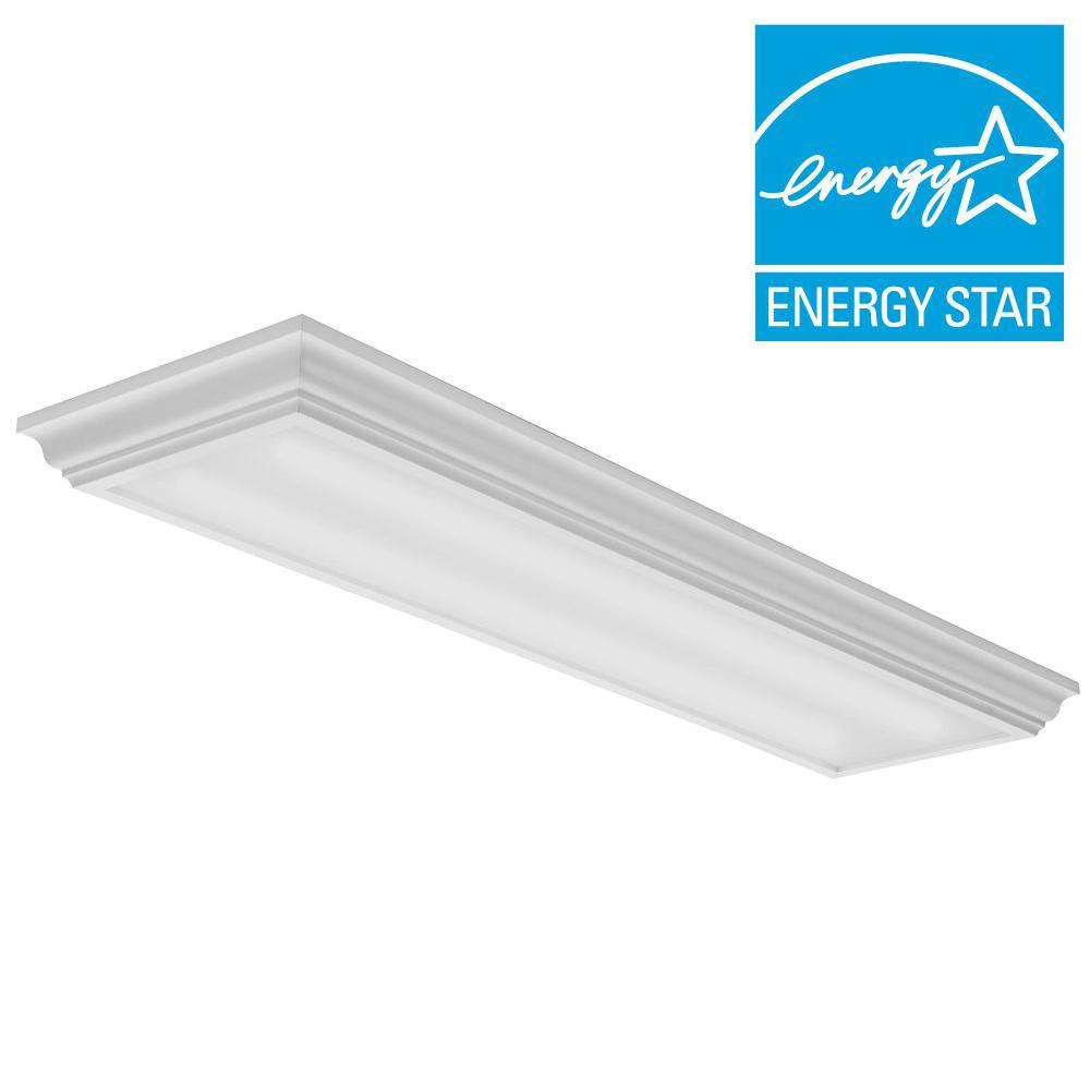 Lithonia lighting 35 watt matte integrated led flushmount 4 ft 35 watt white integrated led flushmount aloadofball Choice Image