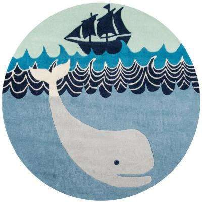 Lil Mo Whimsy Happy Whale Multi Blue 5 ft. x 5 ft. Indoor Kids Round Area Rug