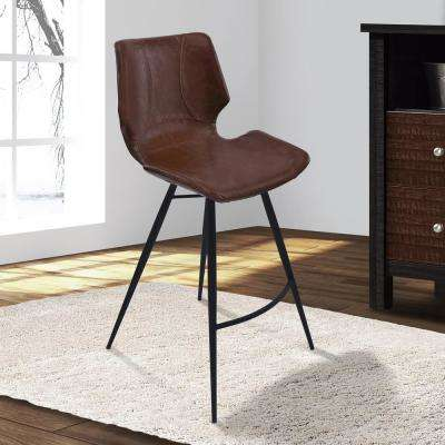 Zurich 26 in. Vintage Coffee Faux Leather and Black Metal Finish Barstool
