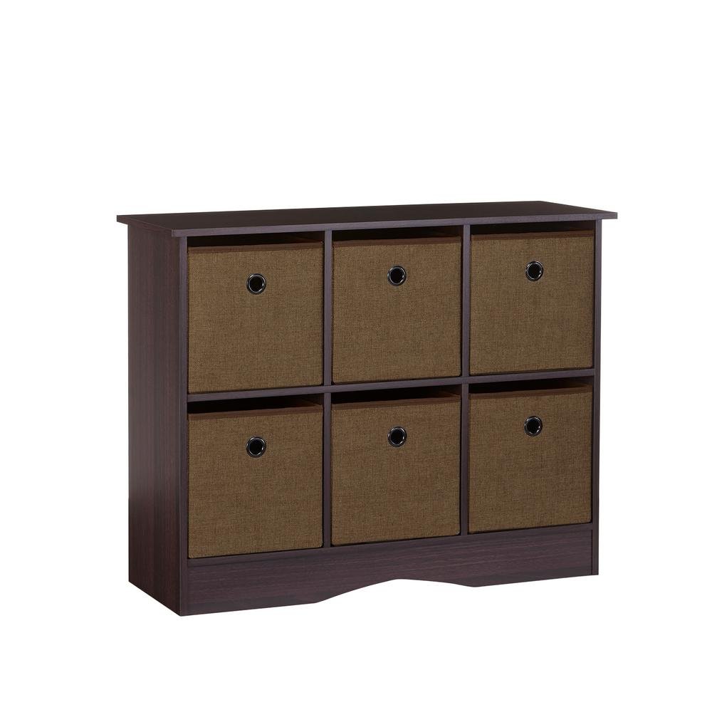 6 Cubby Storage Cabinet With Bins In Espresso Brown