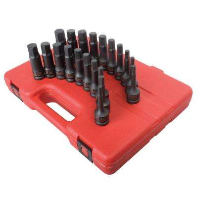 1/4 in. Drive SAE and Metric Impact Socket Set (20-Piece)